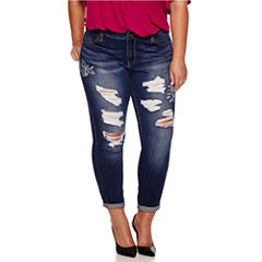 Boutique+ Embroidered Destructed Skinny Jeans - Plus