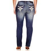 Soundgirl Faux Leather-Pocket Destructed Bootcut Jeans - Juniors Plus