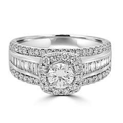Modern Bride Signature Womens 1 1/2 CT. T.W. Genuine Multi-Shape White Diamond 14K Gold Engagement Ring