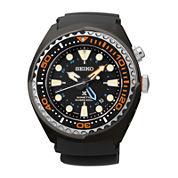 Seiko® Prospex Kinetic GMT Diver Mens Black Silicone Strap Watch SUN023