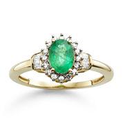 Genuine Emerald & 1/4 CT. T.W. Diamond 10K Gold Ring