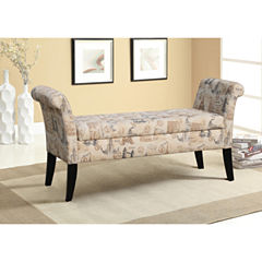 Baxton Studio Baxton Studio Avignon French Towers-Patterned Upholstered Storage Ottoman Bench