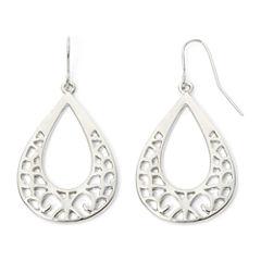 Decree® Silver-Tone Cutout Teardrop Earrings