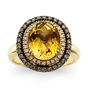 LIMITED QUANTITIES  LeVian Grand Sample Sale Deco Estate Collection™ Genuine Citrine and Diamond Ring