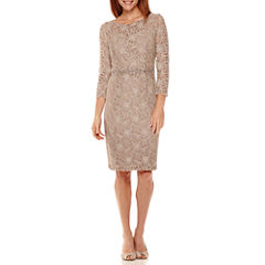 Jackie Jon 3/4-Sleeve Beaded-Waist Lace Sheath Dress