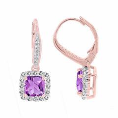 14K Rose Gold 3/4 C.T. T.W. Diamond & Genuine Amethyst Earrings