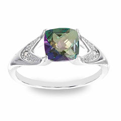Diamond Accent Multi Color Mystic Fire Topaz Cocktail Ring