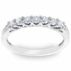 10K White Gold Genuine Aquamarine & Diamond-Accent Stackable Ring