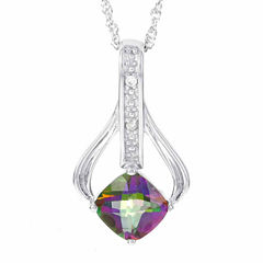 Sterling Silver Genuine Mystic Fire Topaz Diamond-Accent Necklace