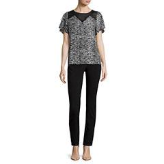 Worthington® Short-Sleeve Pleat Neck Blouse or Slim-Fit Ankle Pants