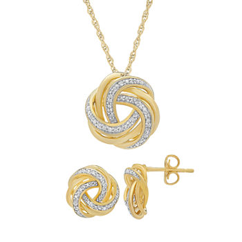 110 Ct Tw Genuine White Diamond 14k Gold Over Silver 2 pc Jewelry Set