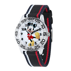 Disney Mickey Mouse Kids Time Teacher Striped Nylon Strap Watch