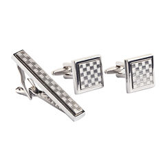 Collection by Michael Strahan Patterned Cuff Links & Tie Bar Set
