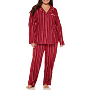Liz Claiborne Flannel Long Sleeve Pant Pajama Set - Plus
