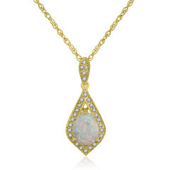 Womens Multi Color Opal Gold Over Silver Pendant Necklace