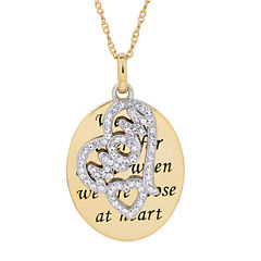 Womens White Crystal Gold Over Silver Pendant Necklace