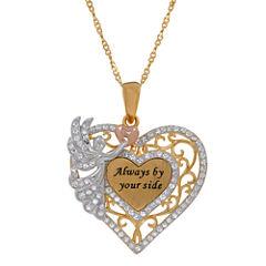14K Gold Over Silver Filigree Crystal Angel Heart Pendant Necklace