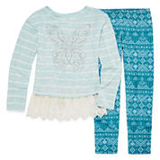 Knit Works Lace Bottom Embellished Top, Legging Set