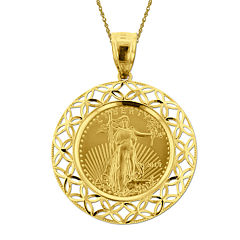14K Yellow Gold 1/10 oz. Liberty Dollar Coin Pendant Necklace