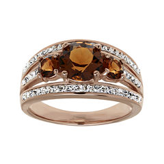 Brown and White Crystal 18K Rose Gold Over Silver 3-Stone Ring