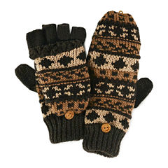 MUK LUKS® Chunky Knit Fair Isle Fingerless Flip Top Gloves