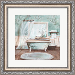 Aqua Blossom Bath II Framed Wall Art