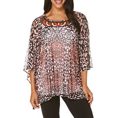 Rafaella Short Sleeve Crew Neck Mesh Animal Blouse
