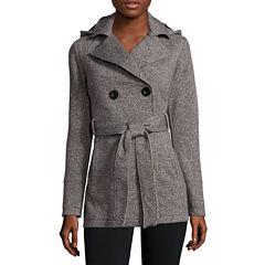 Liz Claiborne® Belted Fleece Trench Pea Coat