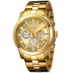 JBW Delano Mens 1/5 CT. T.W. Diamond Gold-Tone Stainless Steel Watch JB-6218-E