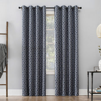 Sun Zero Burke Twill Mosaic Thermal Extreme 100 Blackout Grommet top Curtain Panel