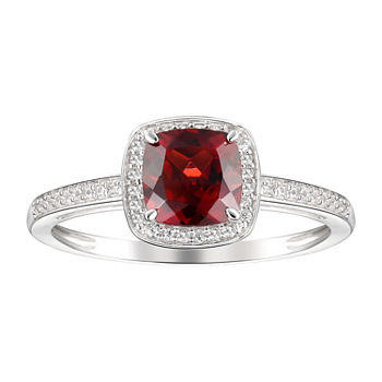 Womens Genuine Red Garnet 10k White Gold Cocktail Ring