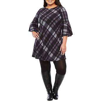 Jessica Howard 34 Bell Sleeve Plaid Shift Plus