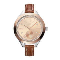 JBW Aria Womens Diamond- and Crystal-Accent Brown Leather Strap Watch J6309C
