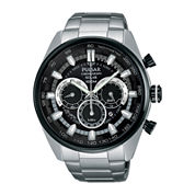Pulsar® Mens Stainless Steel Solar Chronograph Sport Watch PX5033