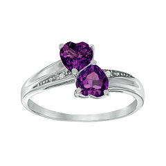 Genuine Amethyst and Diamond-Accent Sterling Silver Double-Heart Ring