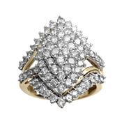 2 CT. T.W. Diamond 10K Yellow Gold Marquise-Shape Cocktail Cluster Ring
