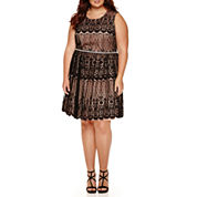 City Triangles® Sleeveless Lace Party Dress - Juniors Plus