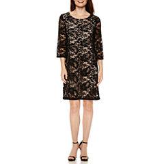 Liz Claiborne® 3/4-Sleeve Lace Shift Dress