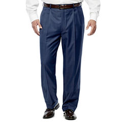 Stafford® Travel Medium Blue Pleated Suit Pants - Big & Tall Fit
