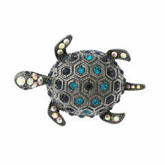 Monet® Hematite and Blue Crystal Turtle Pin