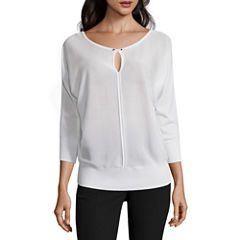 Worthington® 3/4-Sleeve Keyhole Sweater