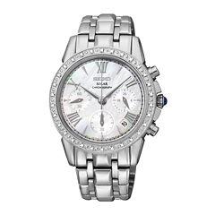 Seiko® Le Grand Sport Womens Silver-Tone Mother-of-Pearl Diamond Chronograph Wat