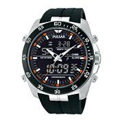 Pulsar® Mens Analog/Digital Black Silicone Strap Chronograph Watch PW6009