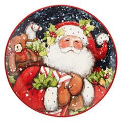 Certified International Snowy Santa Set of 4 Dessert Plates