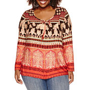 Unity® Long-Sleeve Printed Peasant Top with Ties - Plus