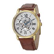 Stührling® Original Mens Brown Leather Strap Skeleton Automatic Watch