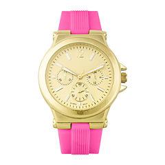 Womens Pink Silicone Strap Boyfriend Watch