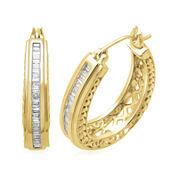 1/2 CT. T.W. Diamond 14K Yellow Gold Over Sterling Silver 26.3mm Hoop Earrings