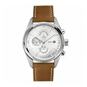 JBW The Woodall Mens Diamond-Accent Light Brown Leather Strap Watch J6300B