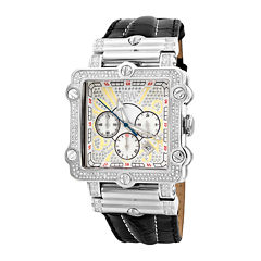 JBW Phantom Mens 2⅜ CT. T.W Diamond Square Black Leather Strap Watch JB-6215-238-B